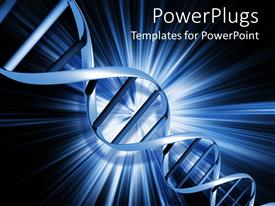 Beautiful PPT theme with light blue DNA strand on abstract blue background with glowing rays