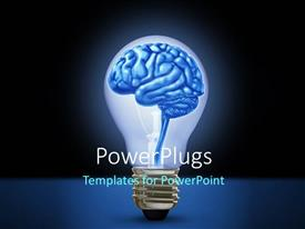 PPT layouts consisting of light bulb with brain depicting idea, innovation and intelligence background
