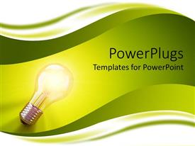 Elegant PPT theme enhanced with light bulb glowing on green waves, idea, problem solving