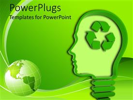 Amazing PPT layouts consisting of light bulb / human head with recycling symbol on green background