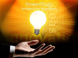 PPT layouts with light bulb signifying ideas and innovation in man's hand