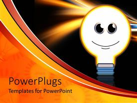 Presentation design consisting of light bulb with smiley face glowing