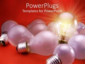 Elegant slide deck enhanced with light bulb with threading over red background