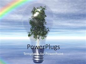PPT layouts having light bulb with tree as filament over blue cloudy sky