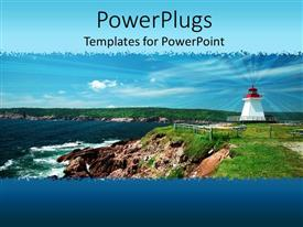 Elegant presentation theme enhanced with a light house in the picture with clouds in the background