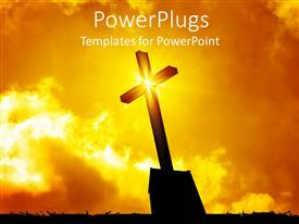 Presentation design enhanced with lighted cross silhouette with bursting star on cross on sunny lighted sky in the background