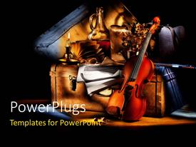 PPT layouts with lighted violin candle and classic violin on suitcase over black background