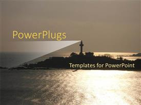 Beautiful slide deck with a lighthouse on the mountain with a clear sky in the background