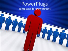 Audience pleasing PPT theme featuring line of blue figures and one red figure in front of line