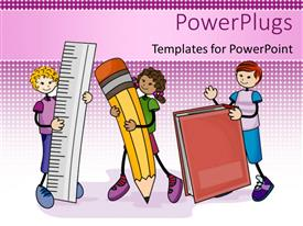 PPT layouts having line drawings of three children with ruler pencil book
