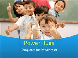 Beautiful presentation design with line of smiling children giving thumbs up to camera