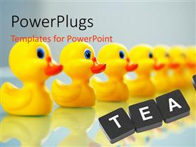 PPT theme having line up of yellow small rubber ducks with the text team