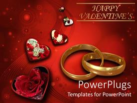 Elegant presentation theme enhanced with linked wedding bands with hearts and red roses