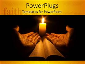 Beautiful slides with lit candle behind two hands open on holy book
