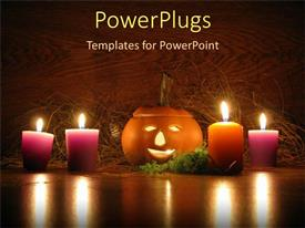 Audience pleasing slides featuring lit ceramic pumpkin surrounded by orange and purple votive candles