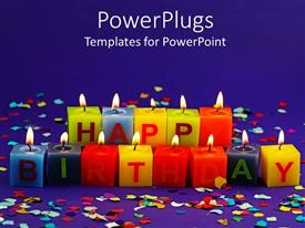 PPT theme featuring lit happy birthday candles and rainbow confetti on purple background
