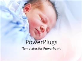 Beautiful PPT theme with little baby sleeping peacefully in blue blanket