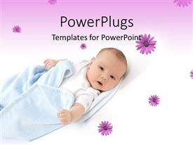 Theme consisting of little baby wrapped in blue blanket over flowery white and purple background