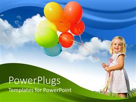 Amazing PPT theme consisting of little girl holding lots of colorful balloon's with blue skies