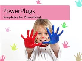 PPT theme featuring little kid playing with colors and colored palm prints on white background