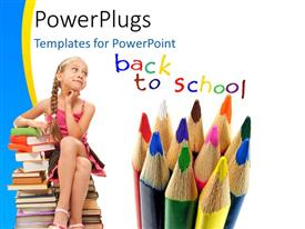 Beautiful PPT theme with little kid sitting on book pile with colorful pencils on white background