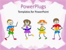 Colorful slide deck having little kids dancing and reading book on white background with pink frames