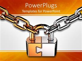 Presentation theme having a lock being held with two steel chains and whitish background
