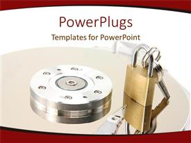 Beautiful presentation design with a lock with a key on a round table