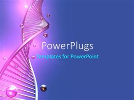 Audience pleasing presentation theme featuring a long purple colored single DNA strand on a blue background