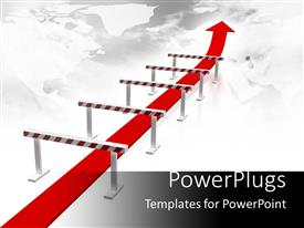 PPT theme featuring long red arrow moving under red and white hurdles