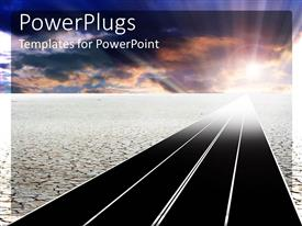 Elegant PPT theme enhanced with a long road in a desert with light at the end