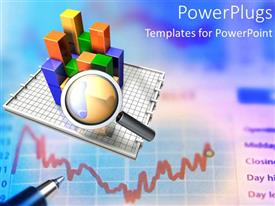 Colorful PPT layouts having looking at charts and data for business income marketing