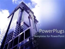 Elegant PPT theme enhanced with lose up view of a tall building showing the sky