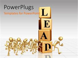 Beautiful PPT theme with a lot of boxes creating the word lead