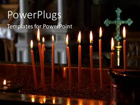 Slides featuring a lot of candles with a cross in the background