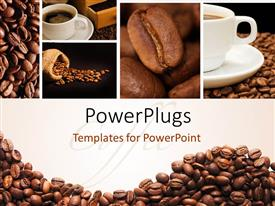 Elegant presentation theme enhanced with a lot of coffee beans and a cup of coffee