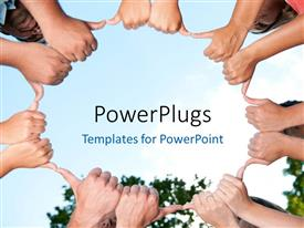 Presentation theme consisting of a lot of hands joined together by the thumbs