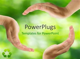 PPT theme enhanced with a lot of hands protecting greenery