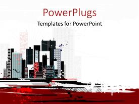 Presentation theme enhanced with alot of high colorful buildings over a white background
