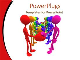PPT theme featuring lots of 3D characters shaking hands on a white background