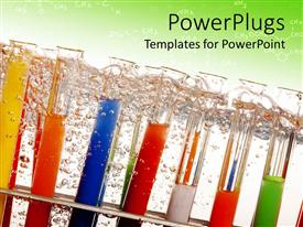 Beautiful PPT layouts with lots of arranged test tubes with colored solutions and bubbles