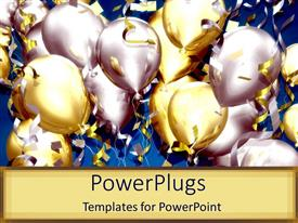 Audience pleasing presentation design featuring lots of balloons and confetti for celebration party on tan background