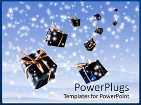 Elegant presentation theme enhanced with lots of blue Christmas gifts falling from heaven with snow