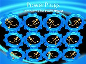 Amazing presentation theme consisting of lots of blue gears with human figures in them