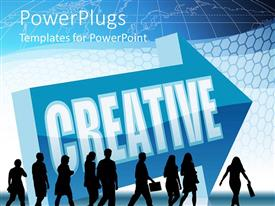 Presentation design enhanced with lots of business people walking with a Creative text