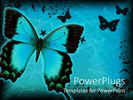 Amazing PPT layouts consisting of lots of butterflies with floral designs on a blue background