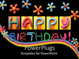 Colorful presentation design having lots of colorful flowers and text that spell out the words