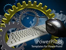 Slide deck enhanced with lots of colorful gears with a white key board and a mouse