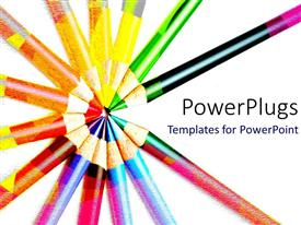 Colorful PPT theme having lots of colorful pencils pointing inward on a white background