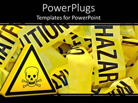 PPT theme consisting of lots of crumbled up yellow strips with a caution hazard sign